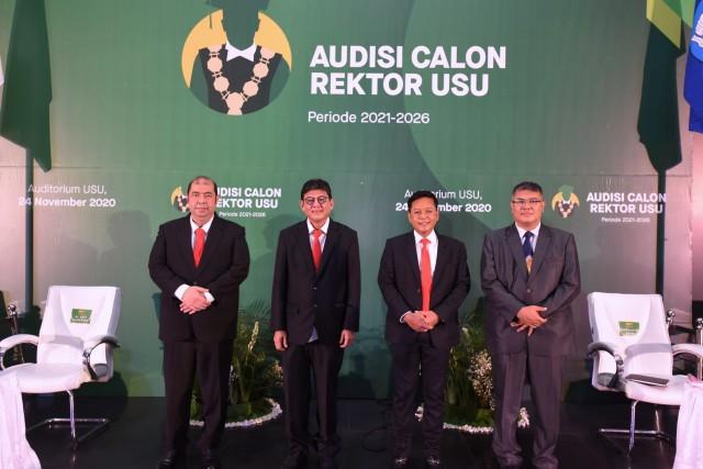 Empat calon rektor USU Carek USU usai mengikuti tahap audisi yang digelar Live Streaming. (Ist)