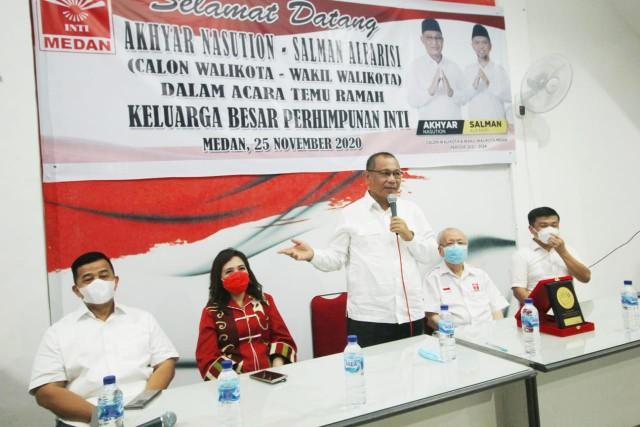 Akhyar Nasution sampaikan visi misi dihadapan pengurus Inti Kota Medan. (Ist)